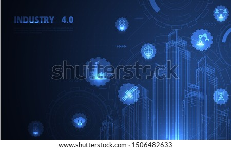 Fourth industrial revolution on futuristic hud with world map globe. industrial instruments in the factory with cyber and physical system icons ,Internet of things network,smart factory solution
