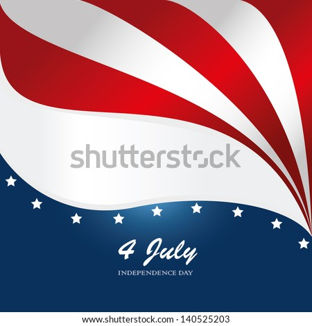 fourth july over flag background vector illustration