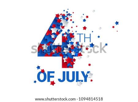 Fourth of July background - American Independence Day vector illustration - 4th of July typographic design USA Stock photo ©