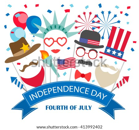 Fourth of July  background with costumes, fireworks, flags, balloons. Fourth of July vector, Fourth of July art,  Fourth of July flat,  Fourth of July web, Fourth of July card, Fourth of July carnival