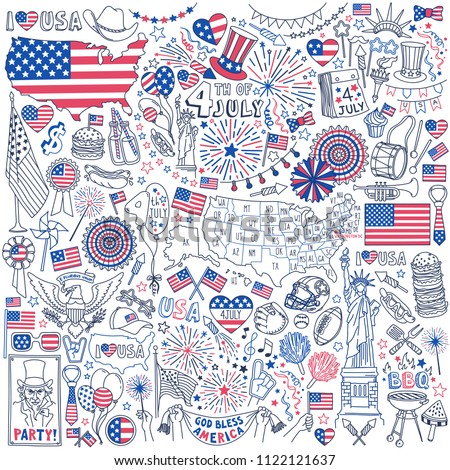 Fourth of July doodle set. National symbols of USA Independence Day, party decorations, flags and maps. Hand drawn vector illustration isolated on white background.