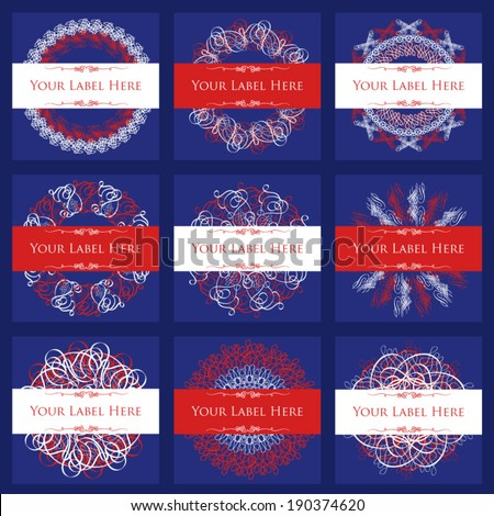 Fourth of July Holiday Labels, Red, White and Blue, Set of Nine, Squares
