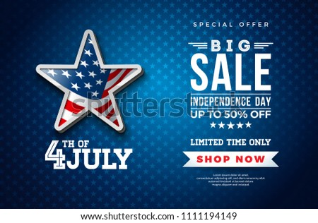 Fourth of July. Independence Day Sale Banner Design with Flag in 3d Star on Dark Background. USA National Holiday Vector Illustration with Special Offer Typography Elements for Coupon, Voucher, Banner