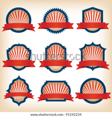Fourth Of July Ribbons, Shields, Labels And Banners/ Collection of shield and other badges with banners, labels, ribbons  for fourth of july holidays or patriotic red and blue event