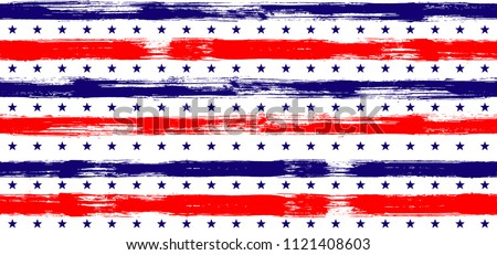 Fourth of July Stars and Stripes Abstract Seamless Vector Pattern in USA Flag Colors. American Independence Day vector of blue red white stars and stripes grunge background for holiday design.