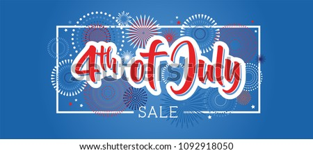 Fourth of July. 4th of July holiday banner. USA Independence Day banner for sale, discount, advertisement, web etc. vector illustration