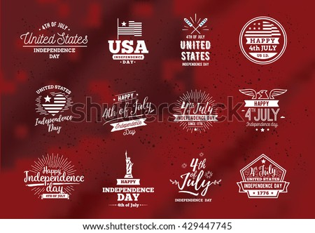 Fourth of July, United Stated independence day greeting. July 4th typographic design. Usable for greeting cards, banners, print. July fourth in USA emblems.