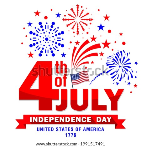 Fourth of july USA independence day. Vector illustration in colors of the American flag. Stars and stripes, fireworks, salute on transparent background