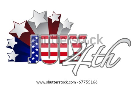 Fourth of July with starts red white and blue designs. vector file available