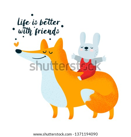 Fox and bunny. Friendship, friends. Cute animals character illustration. Scandinavian illustration. Flat Illustration for kids game, book, t-shirt, card, print, poster, decoration and textile.