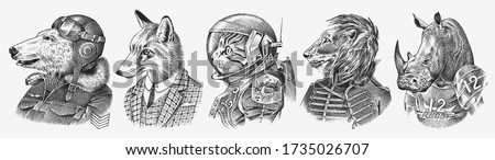 Fox and Rhino dressed up in Suit. Cat astronaut or Spaceman. Lion and Polar bear. Fashion Animal characters set. Hand drawn sketch. Vector engraved illustration for label, logo and T-shirts or tattoo. Foto d'archivio ©