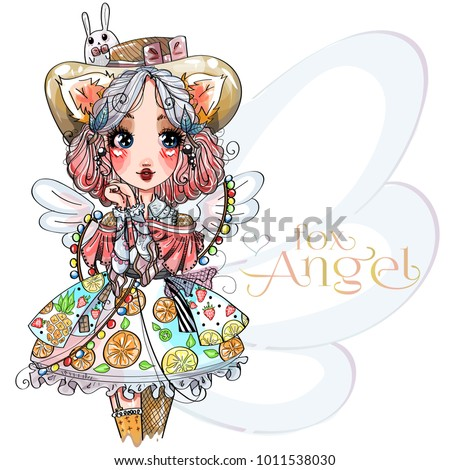 fox angel cute little girl with