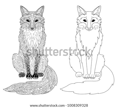 Fox Coloring Page - Download Free Vector Art, Stock Graphics & Images