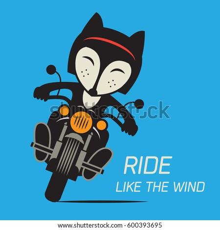 fox biker riding a motorcycle....
