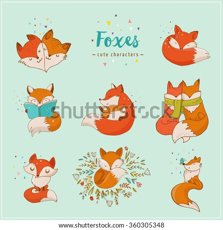fox characters  cute  lovely