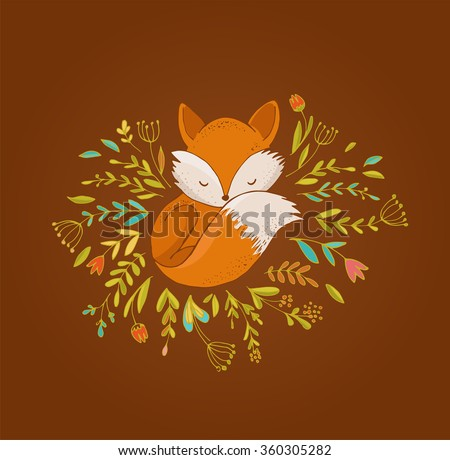 fox  cute  lovely illustration