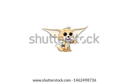 fox fenech, character fenek, mascot, cheerful, n joyful, renders a finger to the top Stock fotó ©