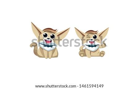 fox fenech, fenek character, mascot, big set, set of fox characters. cheerful, n joyful. - vector Stock fotó ©