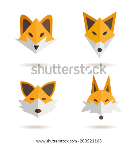 Fox head abstract isolated on a white backgrounds, vector illustration