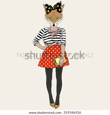 fox hipster girl  fashion