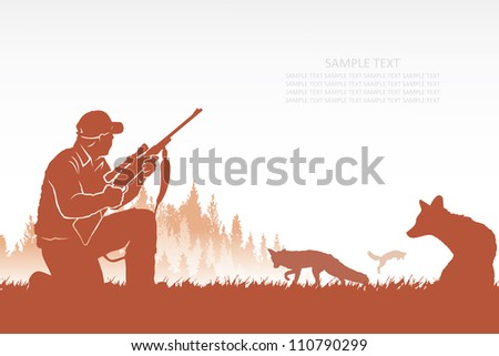 fox hunter   vector background
