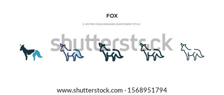 fox icon in different style vector illustration. two colored and black fox vector icons designed in filled, outline, line and stroke style can be used for web, mobile, ui