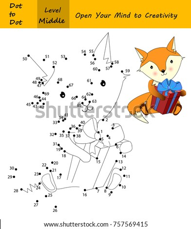 Fox in a Christmas time. Cute animal with  Xmas (or birthday) present. Dot to dot (Number game)  Education game for smart kids and children.