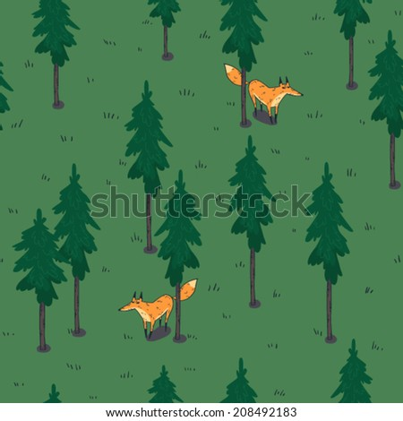 fox in a forest vector