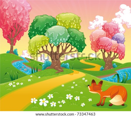 Fox in the wood. Funny cartoon and vector scene. Isolated objects