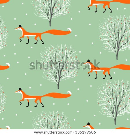 fox in winter forest seamless