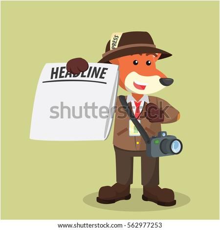 fox journalist with blank newspaper