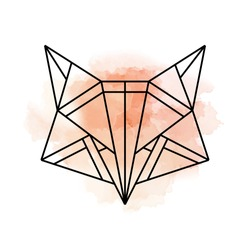 Fox logo with watercolor background. One line icon.