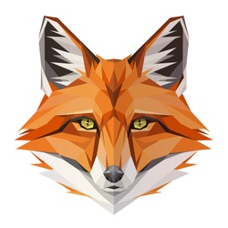 Fox low poly design. Triangle vector illustration