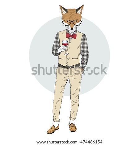 fox man dressed up in retro