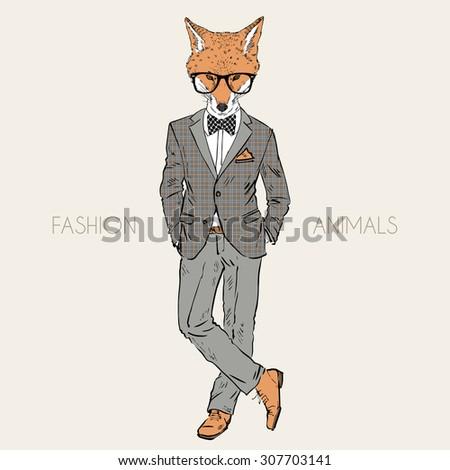 fox man dressed up in tweed