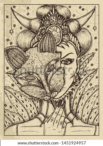 Fox. Mystic concept for Lenormand oracle tarot card. Vector engraved illustration. Fantasy line art drawing and tattoo sketch. Gothic, occult and esoteric background