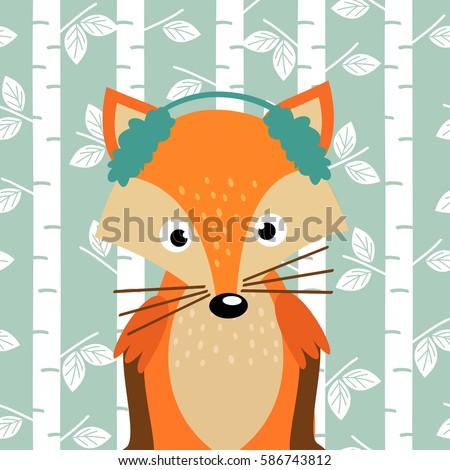 fox on background of birch
