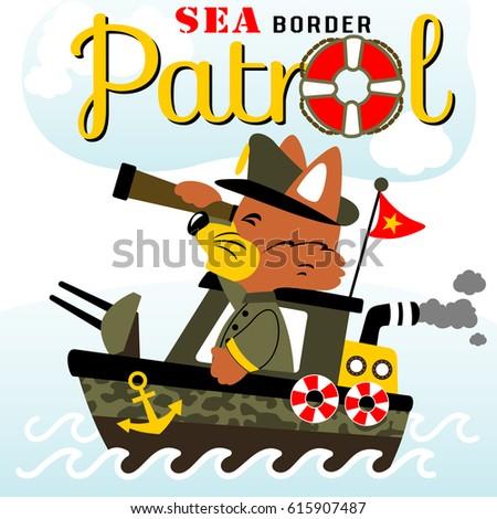 fox on warship patrol  vector