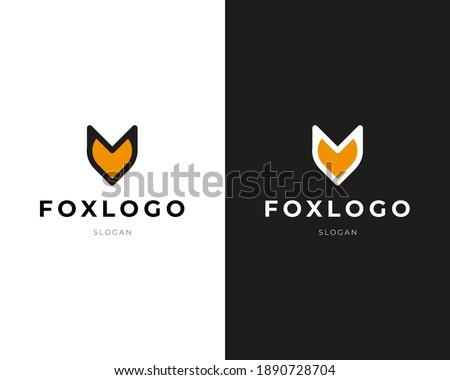 Fox orange logo vector for Company. Fox icon, Fox Modern Geometric Logo Abstract shape of fox. Clean Logo