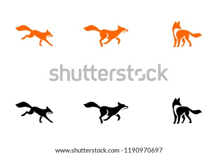 fox run unique logo icon design vector