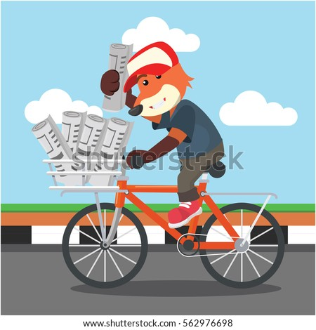 fox selling newspaper with bicycle
