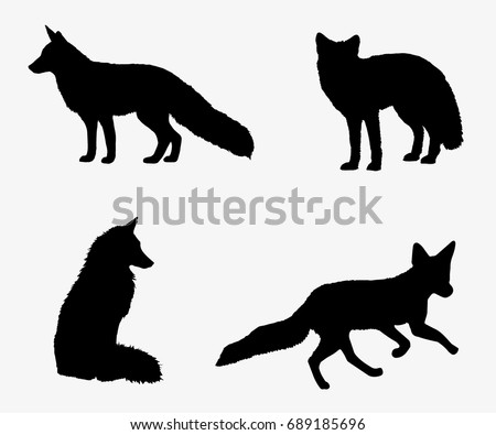 Fox set of silhouettes