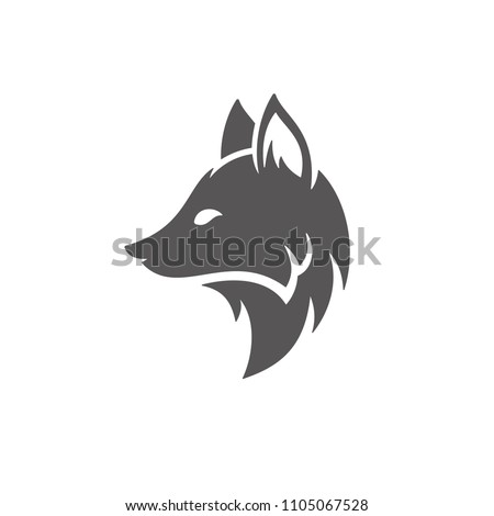 Fox silhouette isolated on white background vector illustration. Fox head vector graphic emblem.