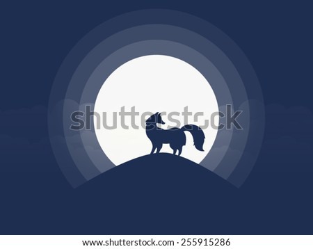 fox silhouette on the hill in