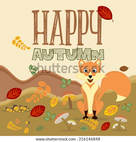 fox surrounded by autumn leaves
