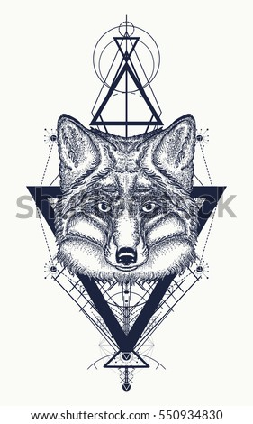 Fox tattoo geometric style. Mystical symbol of adventure, dreams. Creative geometric fox tattoo art t-shirt print design poster textile. Travel, adventure, outdoors symbol