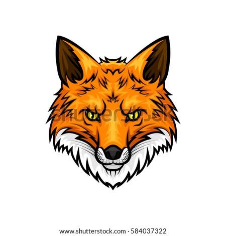 fox vector mascot icon. head...