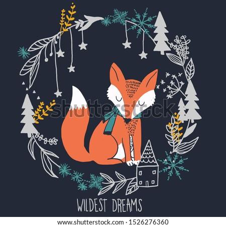 fox winter vector graphic cute