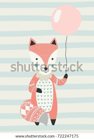 Fox with a balloon in Scandinavian style. Vector illustration. Funny, cute poster.