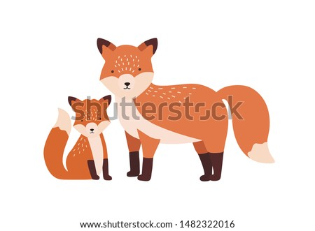 Fox with cub or pup isolated on white background. Family of funny wild carnivorous forest animals. Parent with youngling, mother and baby or offspring. Flat cartoon colorful vector illustration. Stockfoto ©